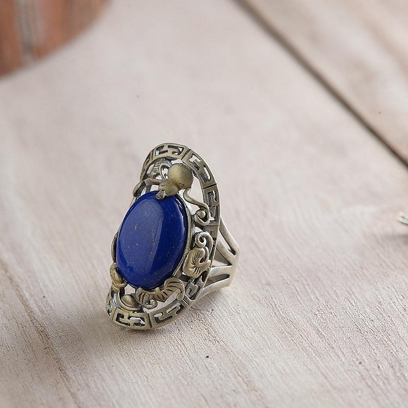 Cerf S925 argent Thai argent restauration anciennes voies anneau processus en gros argent incrusté lapis anneaux ouvertures pour les femmes