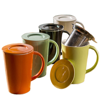 Ceramic Coffee Mug With Lid And Stainless Steel Filter Tea Milk Juice Lemon Home Office Drinkware