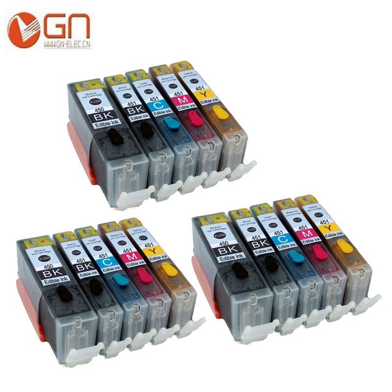 GN 15pcs PGI450 CLI451 PGI 450XL CLI 451XL edible ink cartridge For canon Pixma MG5440 MG5450