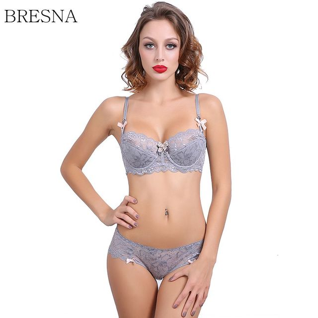 8f38da381b41d BRESNA Big Size Half Cup Lace Bra With Bow Demi Push-up Bra Set Thin Padded  Girls Underwear Set Sexy Lingerie Plus Size 95CD