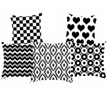 Black And White Polyester Cushion Cover Geometric Throw Pillow Case Striped Dotted Grid Triangular Art