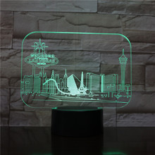 Usb 3d Led Night Light City Las Vegas Atmosphere Lamp Decoration RGB Kids Baby Gift Famous Buildings Table Lamp Bedside neon india taj mahal usb 3d led night light veilleuse lamp decoration rgb kids baby gift famous buildings table lamp bedside neon