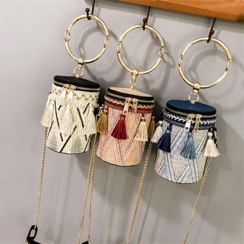 THINKTHENDO Women Bucket Barrel Straw Bag Woven Crossbody Bags Metal Handle Shoulder Tote