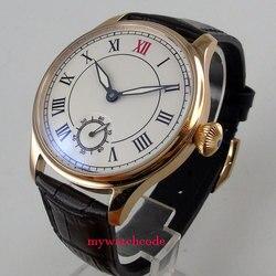 44mm parnis biała tarcza róża złota koperta ręczne nakręcanie 6498 mechaniczny męski zegarek w Zegarki mechaniczne od Zegarki na