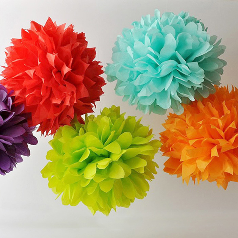 Us 9 7 Tissue Paper Flower Garland Crepe Paper Balls10pcs Mixed 2 Size 8 10 Decoration Mariage Wedding Party Festival Can Folding In Artificial