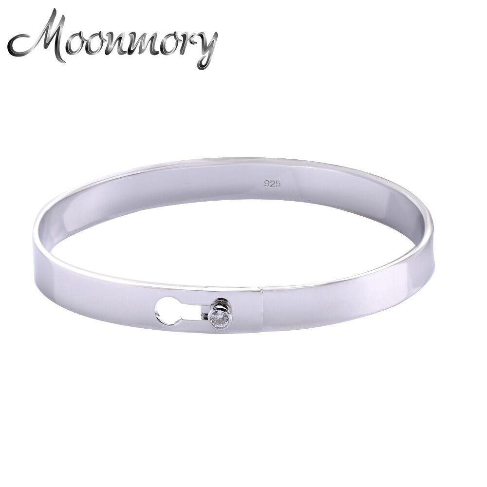 Moonmory populaire 925 Bracelet en argent Sterling Serrure pour les femmes avec Zircon bijoux de mode médaillon Bracelet Bracelet Pulseiras