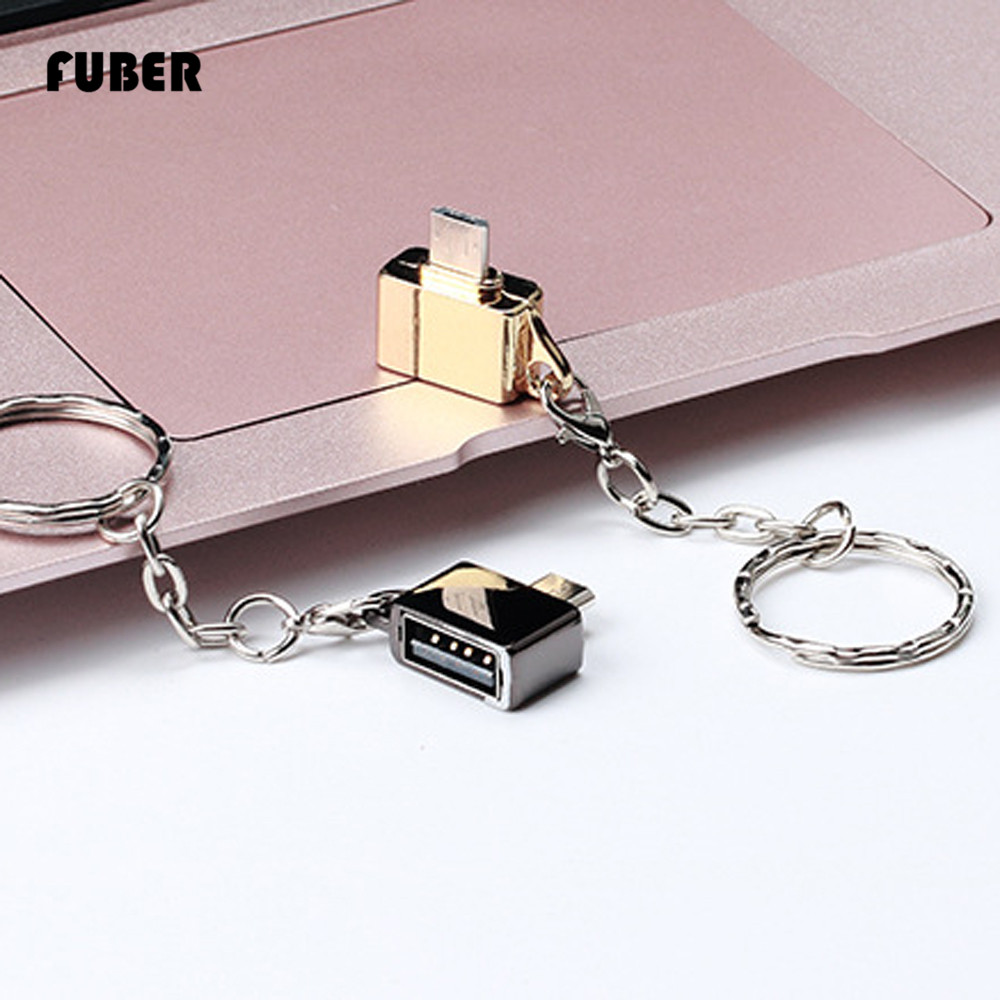 FUBER Brand Metal Micro USB Male To USB 2.0 A Female OTG Converter Adapter With Key Chain Free Shipping Drop Shopping