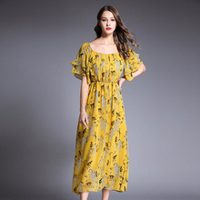 2019 Spring Summer New Folded Sleeves Printed Waist Large Swing Type Boutique Dress Size Womens Clothing