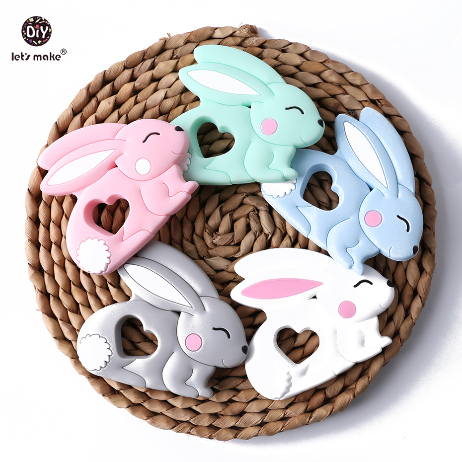 Let's Make Baby Teether 5pc Jade Rabbit Pendant BPA Free Silicone Teether Making Jewelry Necklace Teething Toys Baby Products