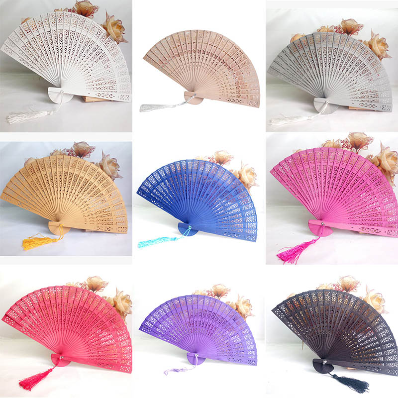 Party Favor Home Decor Crafts Bamboo Wooden Fan Summer Accesory Hand Fans Weddings Parties Art Folding Carved Fragrant Wood