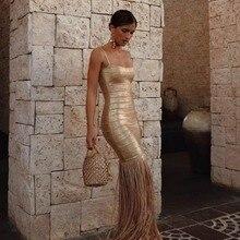 Бронзовое Бандажное платье с кисточками черного и золотого цветов, длинное платье макси с бахромой, Сексуальные вечерние платья, женской одежды