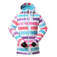 Ladies Waterproof Ski Jacket Womens Stripe Ski Coats  Snowboard Jacket Winter Coat  Windproof -30 degree