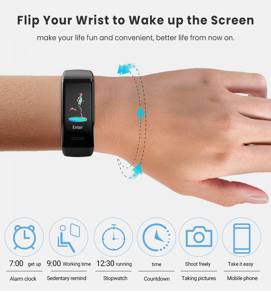 Men Women 1.14 IPS OLED Color Smart Wristbands Pedometer Sports Fitness Bracelet Blood Pressure Heart Rate Monitor Android IOS 11