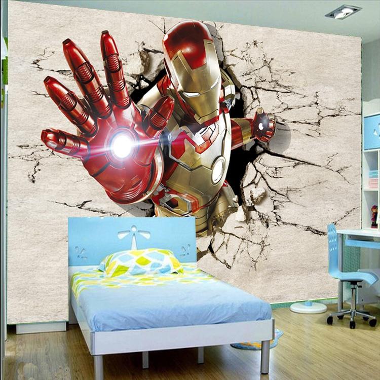 Customize 3D Iron Man Mural Wallpaper Broken Wall Out Full Wall Murals  Print Decals Home Decor