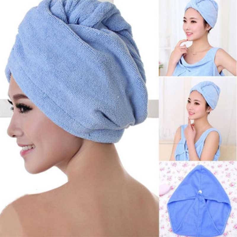 Kering Rambut Hat Handuk Wrap Sorban Topi Sanggul Topi Kepala Shower Kering Microfiber