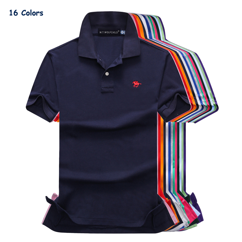 16 Colors 2018 Summer mens short sleeve small horse brand   polos   shirts casual cotton mens lapel   polos   fashion mens slim tops