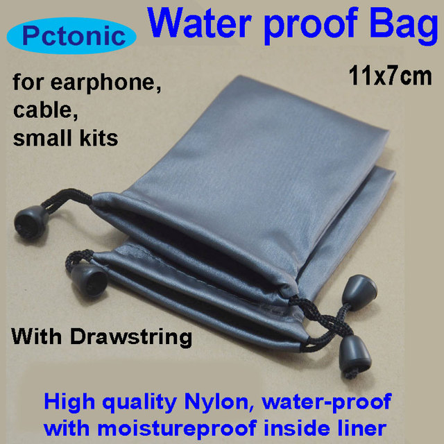 PCTONIC Waterproof nylon small Drawstring Bag Travel Storage Case for power bank earphone cable diver disk of iphone samsung