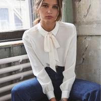 100% Silk Women White Blouse Self Tie Bow Neck Female Elegant Long Sleeve Shirt Top