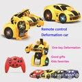 Niños juguetes 1:14 RC coche Transformación Rompecabezas Chico 4ch Deformación coche robot de control remoto eléctrico de juguete de dibujos animados de una clave de la transición