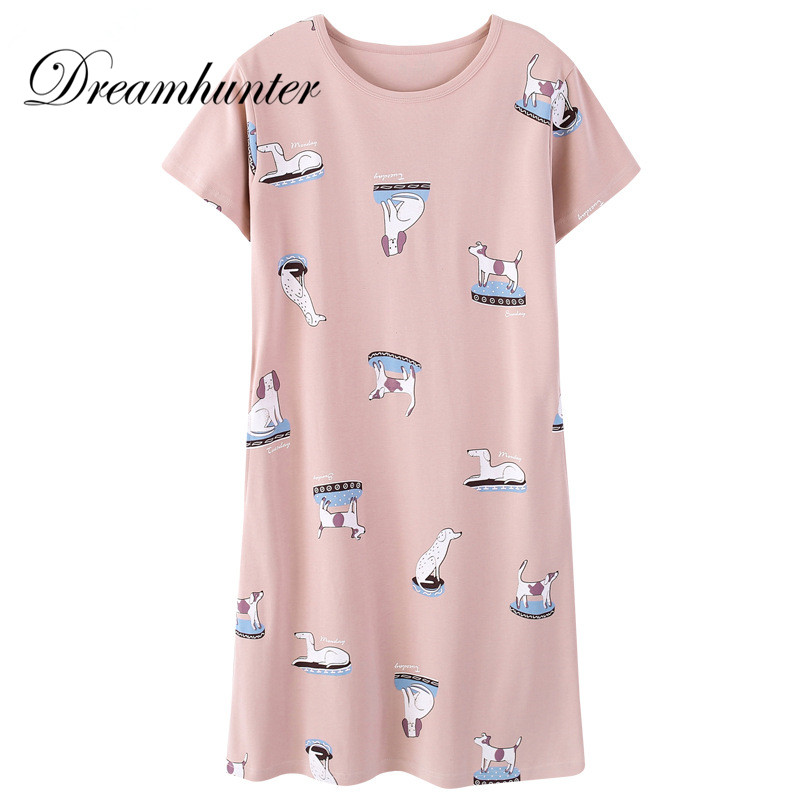 Women Night Sleep Dress Cotton O Neck Short Sleeved Nightwear Girls Cute Animal Printed Sleepwear   Nightgowns     Sleepshirts