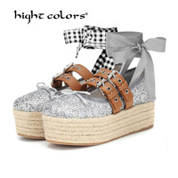 fashion women shoes platform wedges Spring casual straw plaited article paillette Gold Silver Black Blue new ballets High Heels