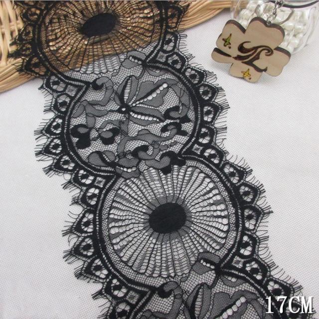 3meterslot Eyelash Black Soft Round Classic Lace Trim Decoration