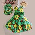 Meninas do bebê vestir crianças roupas flor crianças chapéu + vestido 2 pcs impressão sem mangas vestidos do partido dos miúdos da princesa vestido whosebaby