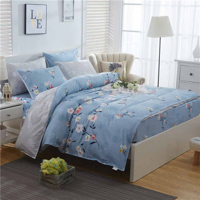 4afecd20d9b3 Fresh Flowers gray blue twin full Queen King Size Bedding Sets 100% Cotton  Bedlinens Duvet Cover Fitted Sheet Pillow Cases 4pcs