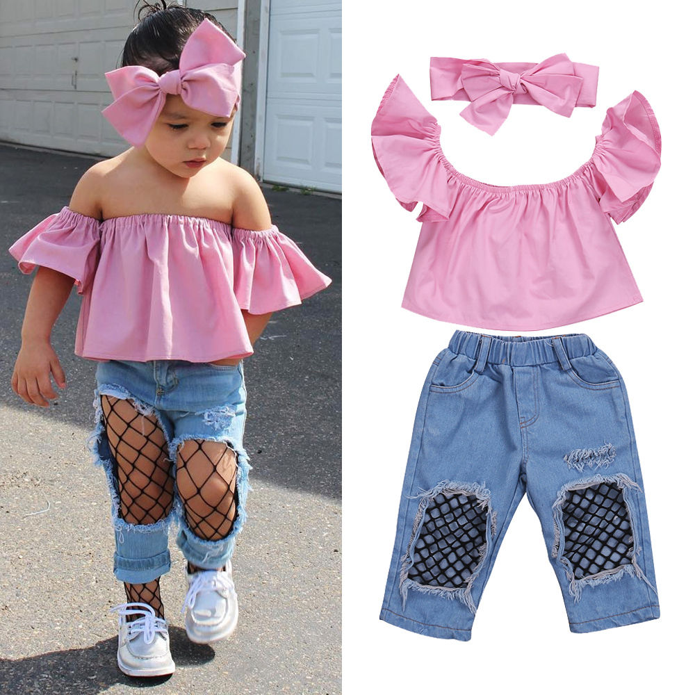 Summer 3pcs Baby Girl Kids Off-shoulder Crop Tops Shorts Pants Outfits Clothes