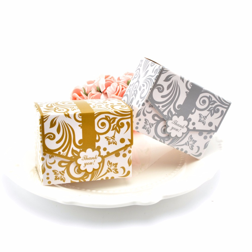 100Pcs/lot gold sliver 7*5*5cm wedding Candy Box Chocolate boxes Wedding Gifts for Guests Baby Shower Favors Gifts and Souvenirs