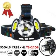 CREE XML T6 LED 2*COB Headlight Diving Headlamp 18650 Rechargeable 5000LM Zoom Head Flashlight Waterproof Headlight Lamp Torch