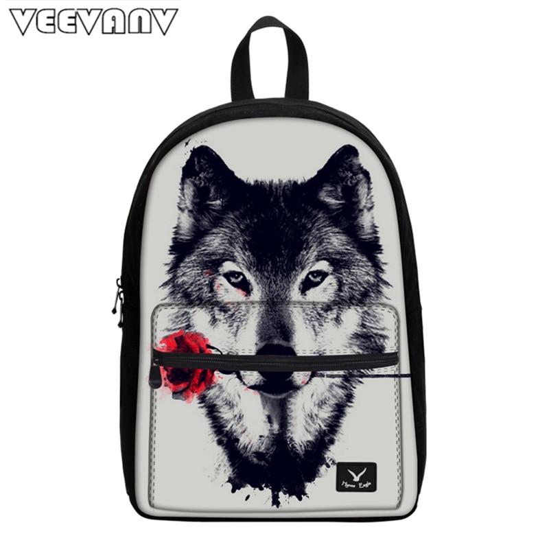 VEEVANV 2018 Animal Printing Wolf Canvas Backpacks School Women Backpacks Brand Designer Casual Teenagers Men's Mochila Children