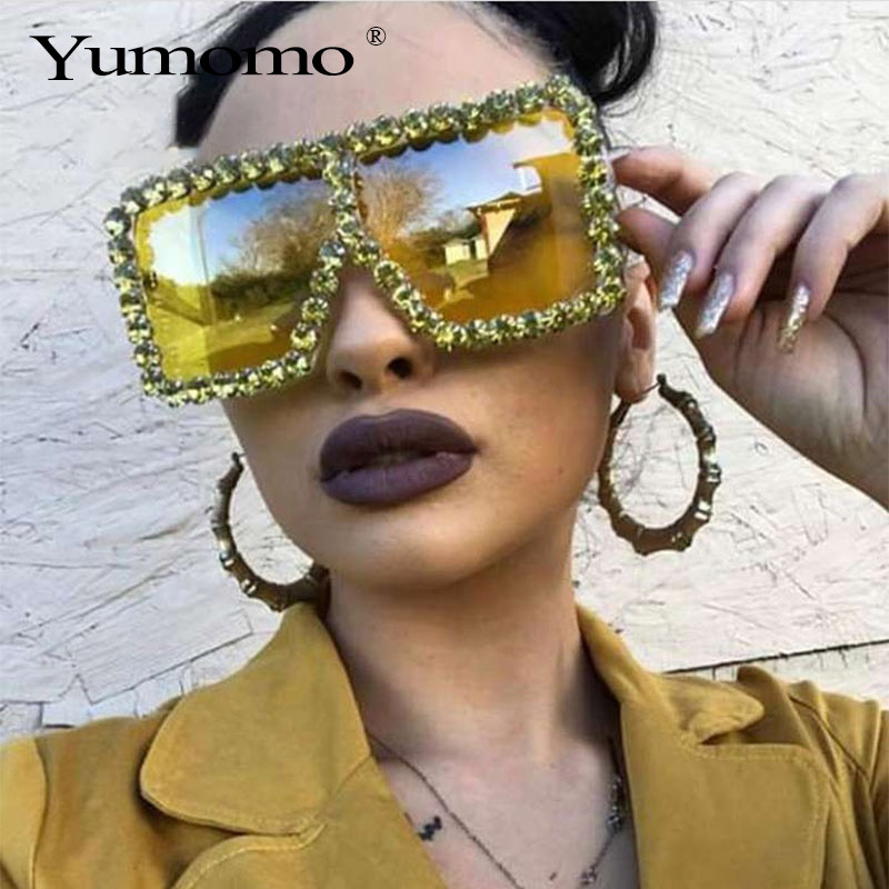Fashion Large Diamond Crystal Sunglasses Women Luxury Brand Geometric Square Glasses Oculos De Grau Feminino Eyewear Shades