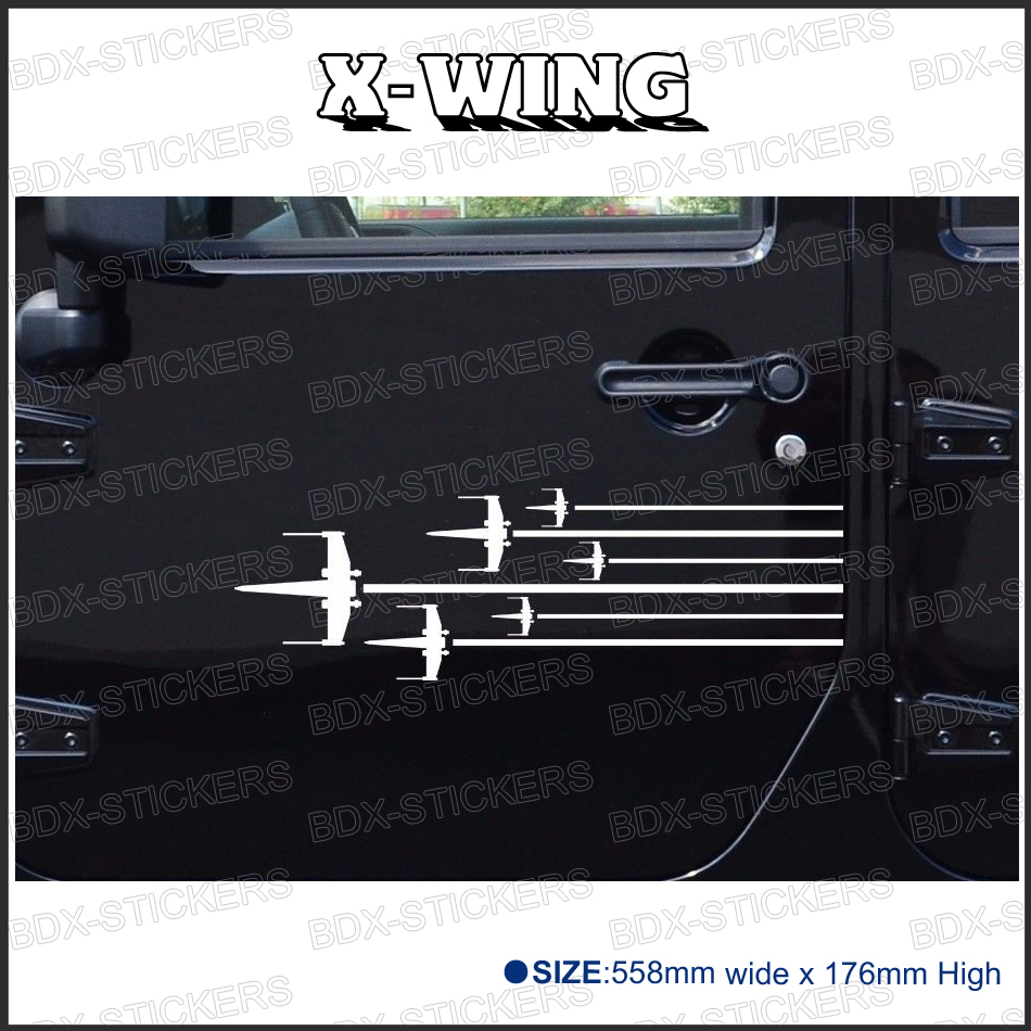 free shipping 2PC ROGUE SQUADRON X-WING Star Wars Hood Side Stripes for  rear window or car door badges detailing decals 2pc claw scratches body side graphic vinyl decals for ford ranger2012 2015 truck decals badges detailing sticker