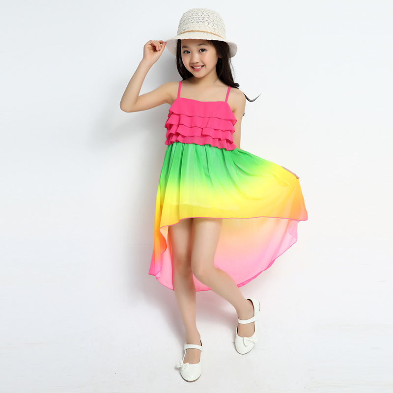 Aliexpress.com : Buy Girls' Beach Rainbow Dress Chiffon Ruffle ...