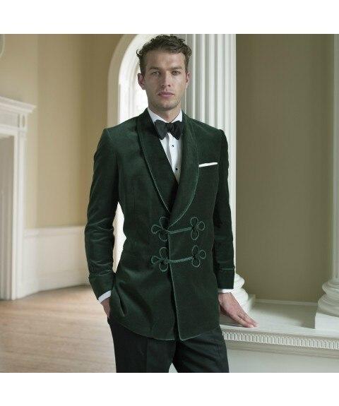Зеленый бархатный костюм Для мужчин Классический курения мужской костюм Slim Fit смокинг Формальные ночь Вечерние костюм Блейзер шаль лацкане