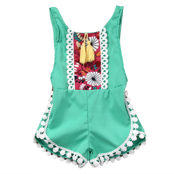 Summer Style 2017 Children Girls One-piece Spliced Lace Sleeveless Kids Clothes For Girl Jumpsuits Rompers Sunsuit Beach
