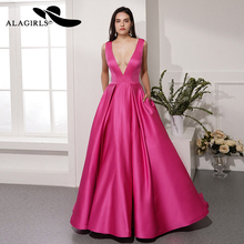 Alagirls New Designed A Line Evening Dress V-Neck Gown Sexy Prom  with Bowknot Vestido de noche 2019 Formal