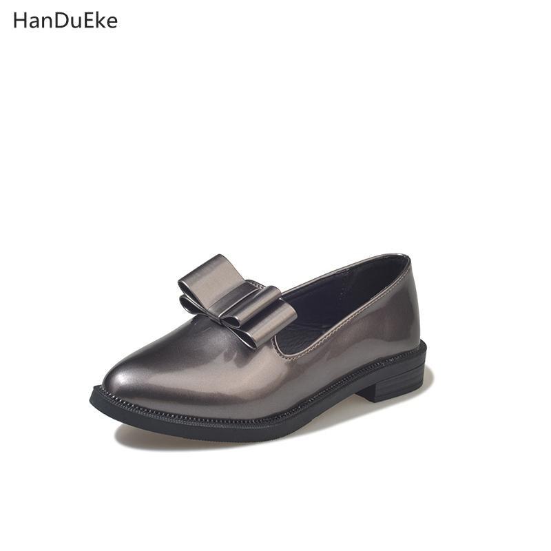 Frühling Arbeiten Leder Bowknot Und Schwarz Lack weiß Frauen Neue Schuhe silber Herbst Schwarzes Flachen Süße Einzelne 2018 Schuhe Boden pBq5n7vx