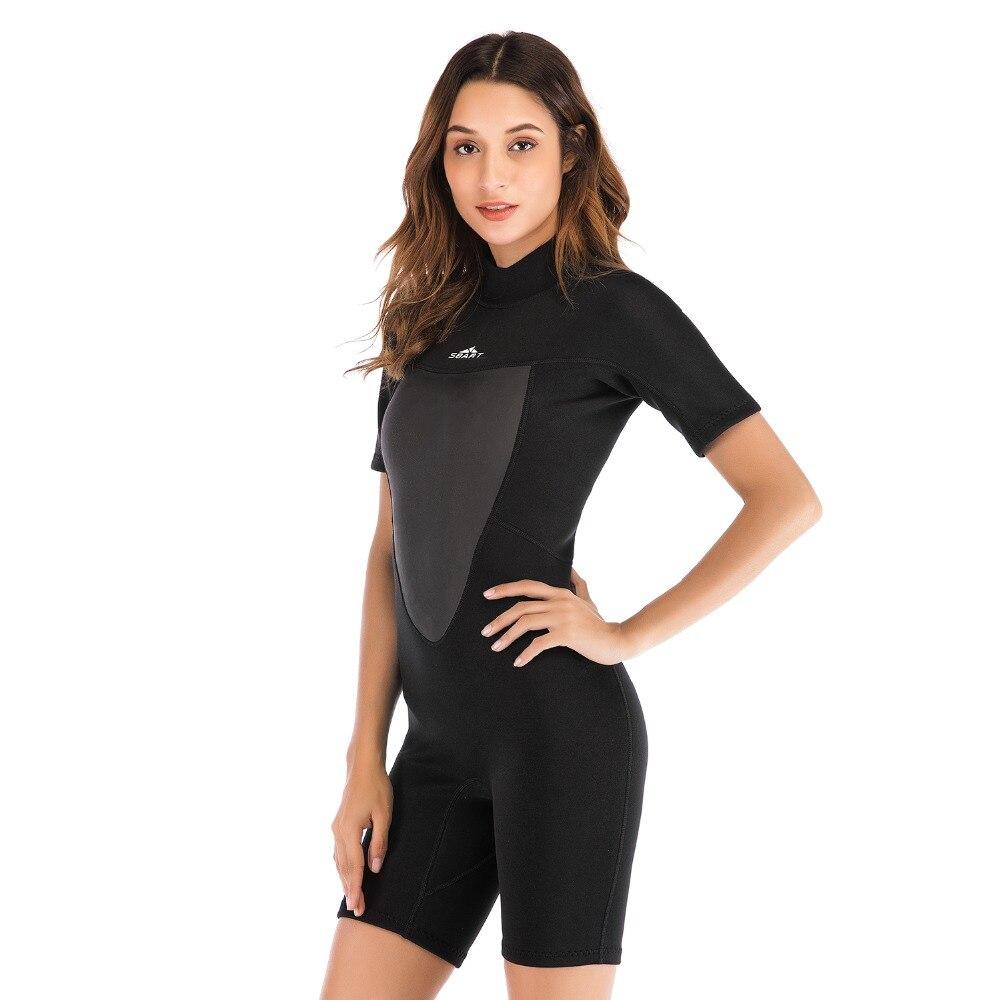 2mm femmes combinaison néoprène Élastique couleur Surf Diving suit vêtements à manches Courtes une pièce équipée Chaud Surf Équipement