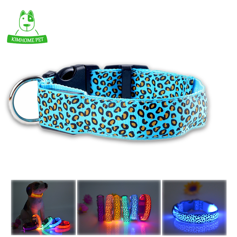 5 Color Leopard Striped Night Glowing Light LED Nylon Ribbon Luminous Pet Dog Collar S M L XL