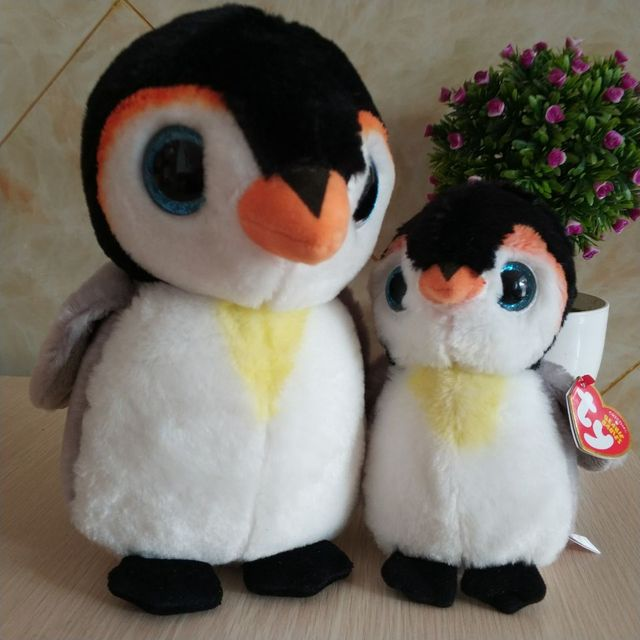 dfe753a4f9b 2 pcs pongo penguin 15cm and 25cm 10 inch Ty beanie boos classic Plush Toy  Stuffed Animal Soft Kids Toy Christmas Gift Hot Sale