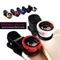 Universal 3in1 Clip de ojo de pez Macro gran angular para teléfonos móviles cámara lente para el IPhone 6 5S 5c para Samsung S6 S5 para meizu m2 nota