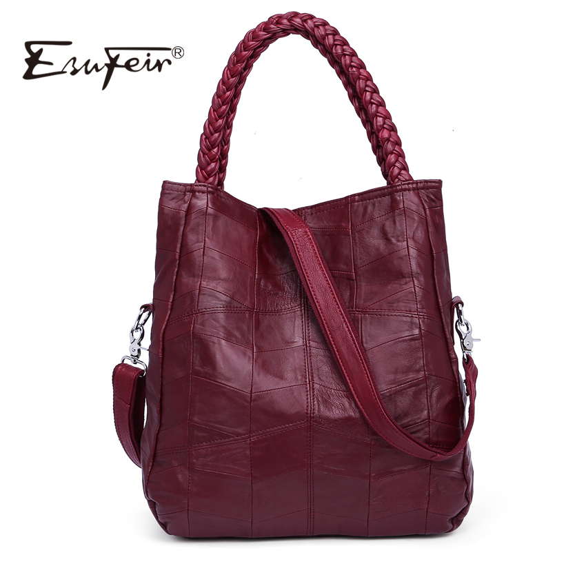 ESUFEIR Brand Genuine Leather Luxury Women Handbag Designer Patchwork Sheepskin Women Bag Fashion Shoulder Bag Casual Tote Bag esufeir 2018 100% genuine leather women handbag cow leather multi shoulder bag casual colourful patchwork women bag tote kj055