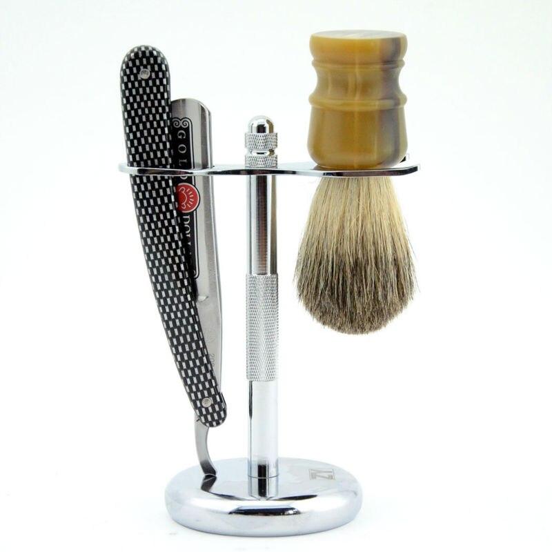 vintage gold dollar 208 straight razor set folding knife men shaving razor stand holder badger hair brush