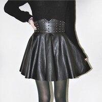 Spring Summer Women High Waist Skirts Punk Faux Leather Black Skater Rivet Mini Tutu Skirt 63