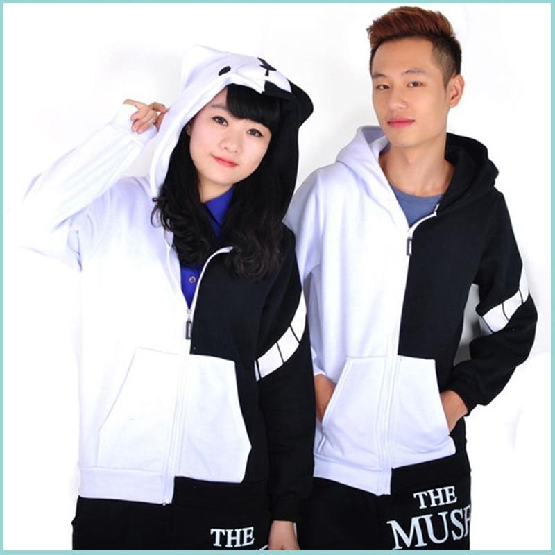Dangan Ronpa Monobear Monokuma Black&White Bear Cosplay Costume Unisex Jacket Hooded Hoodie Zipper Cardigan