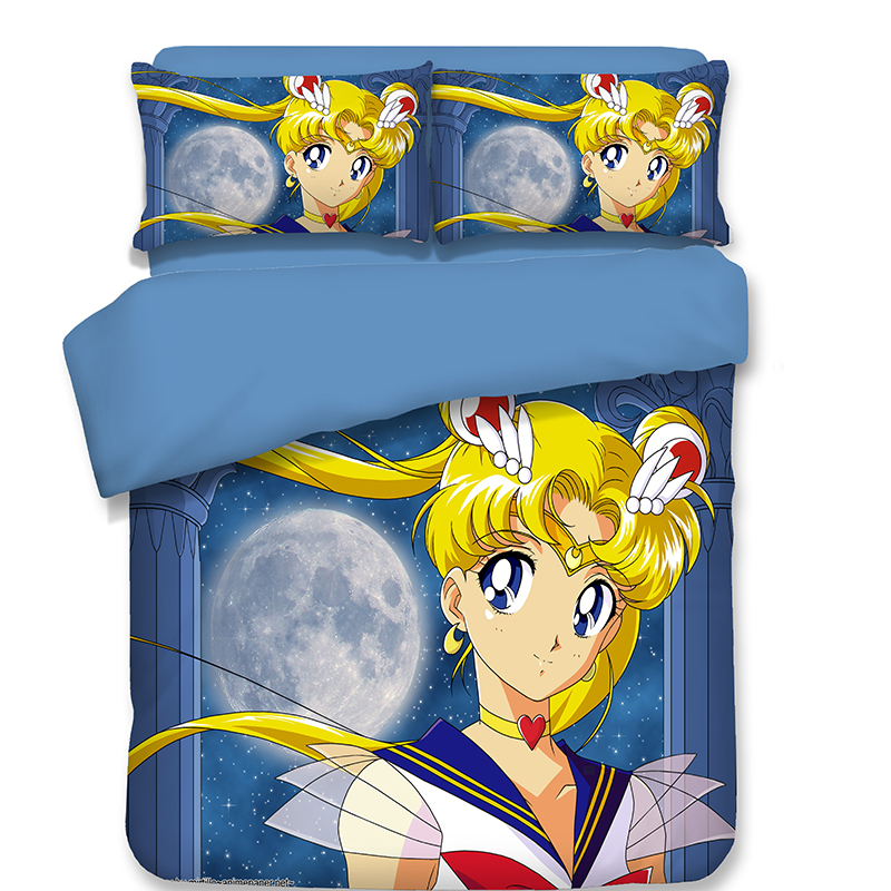 Japanese Anime Sailor Moon Bedding Set full Twin Queen King Size bedclothes duvet cover quilt cover pillow case lovely Japanese Anime Sailor Moon Bedding Set full Twin Queen King Size bedclothes duvet cover quilt cover pillow case lovely