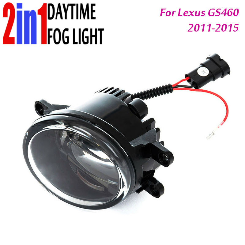 New Led Fog Light with DRL Daytime Running Lights with Lens Fog Lamps Car Styling Led Refit Original Fog for Lexus GS460 leadtops car led lens fog light eye refit fish fog lamp hawk eagle eye daytime running lights 12v automobile for audi ae