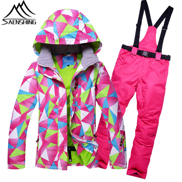 3ffb226e03 SAENSHING Women s Ski Suit Girls Snow Jacket Thicken Warm Waterproof Ski  Jacket Snowboard Pant Outdoor Cheap Snowboarding suits